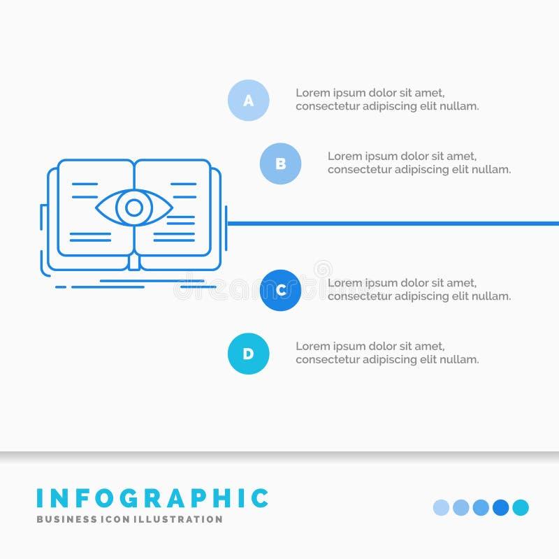 conocimiento, libro, ojo, visi?n, plantilla de Infographics del crecimiento para la p?gina web y presentaci?n L?nea vector infogr ilustración del vector