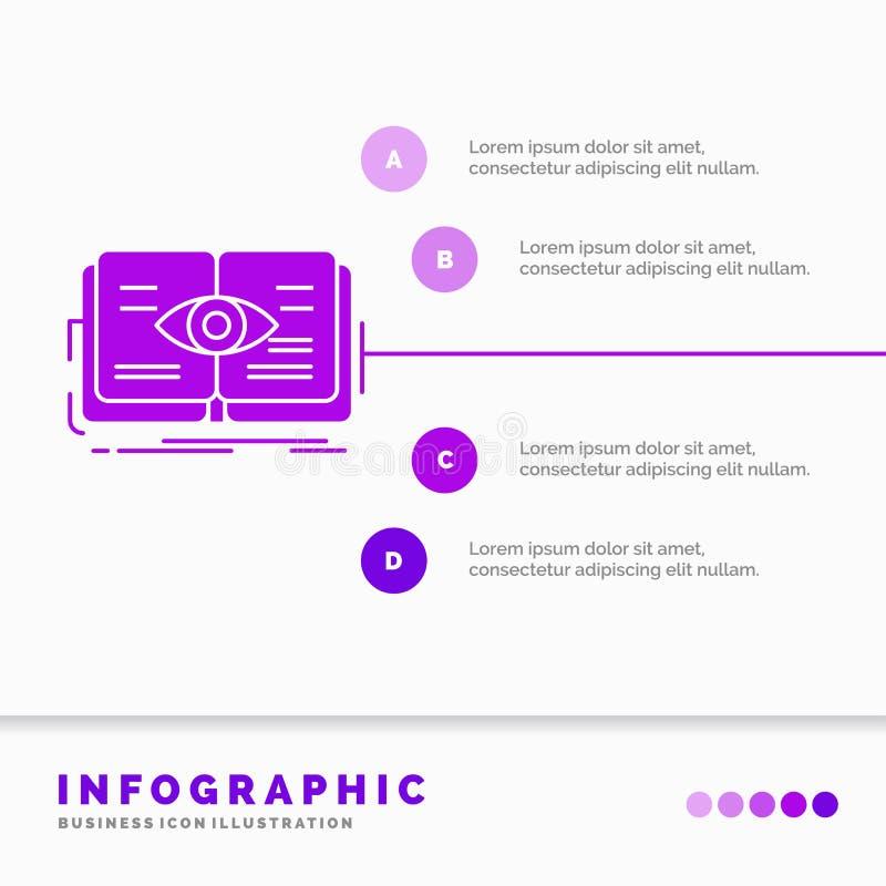 conocimiento, libro, ojo, visi?n, plantilla de Infographics del crecimiento para la p?gina web y presentaci?n Vector infographic  ilustración del vector