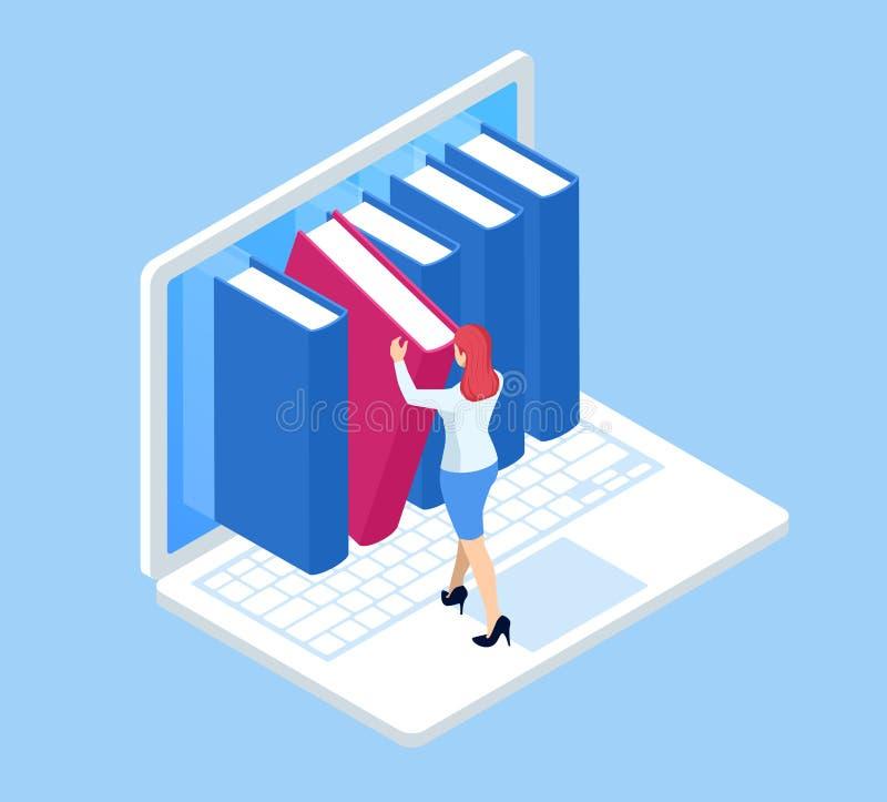 Conocimiento móvil isométrico, ordenador portátil como libro, e-biblioteca, concepto colorido de la biblioteca Libros en el orden ilustración del vector