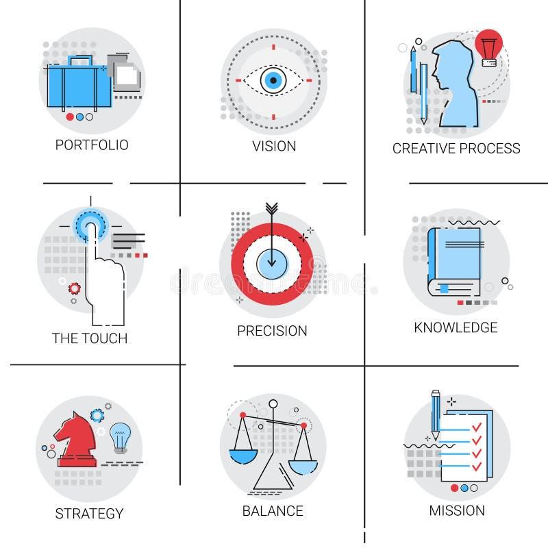 Conocimiento que aprende el proceso creativo, sistema del icono de la misión de la estrategia de la cartera stock de ilustración
