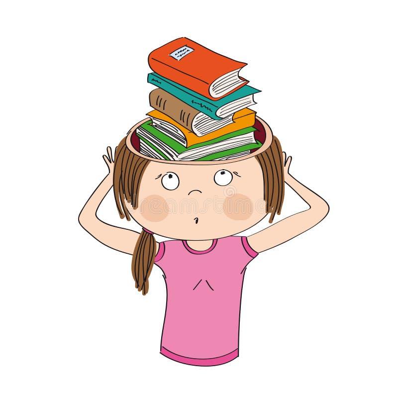Conocimiento y educación Libros en vez del cerebro ilustración del vector