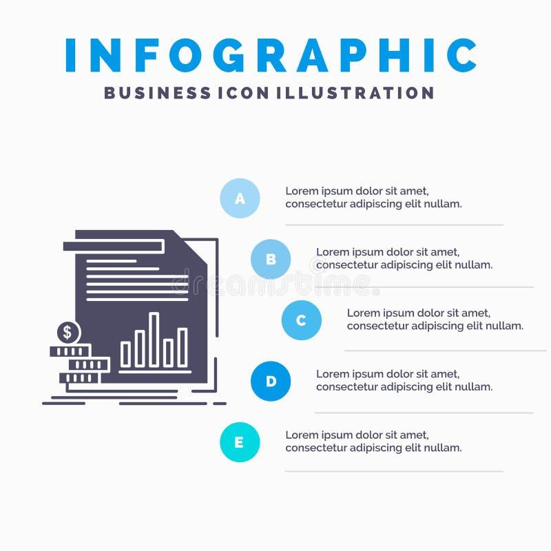 ?conomie, finances, argent, information, calibre d'Infographics de rapports pour le site Web et pr?sentation Ic?ne grise de GLyph illustration stock