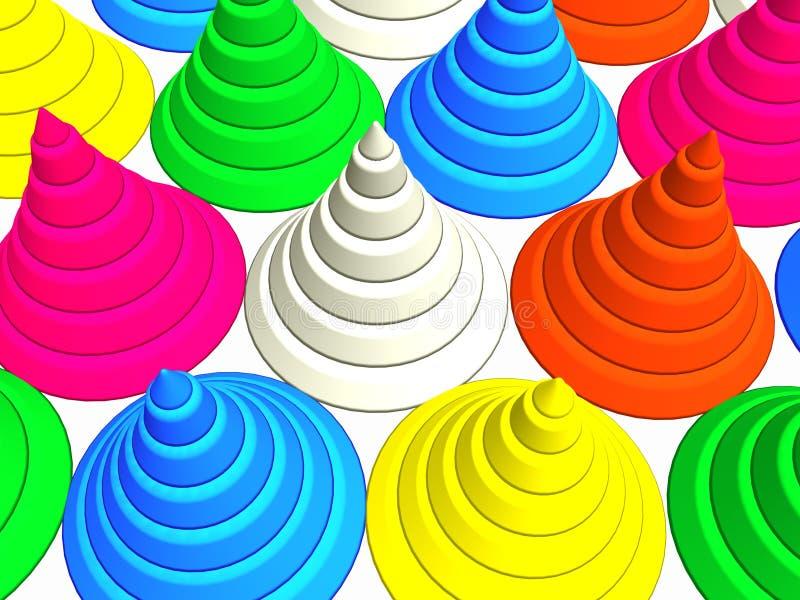 conos 3D-Colorful ilustración del vector