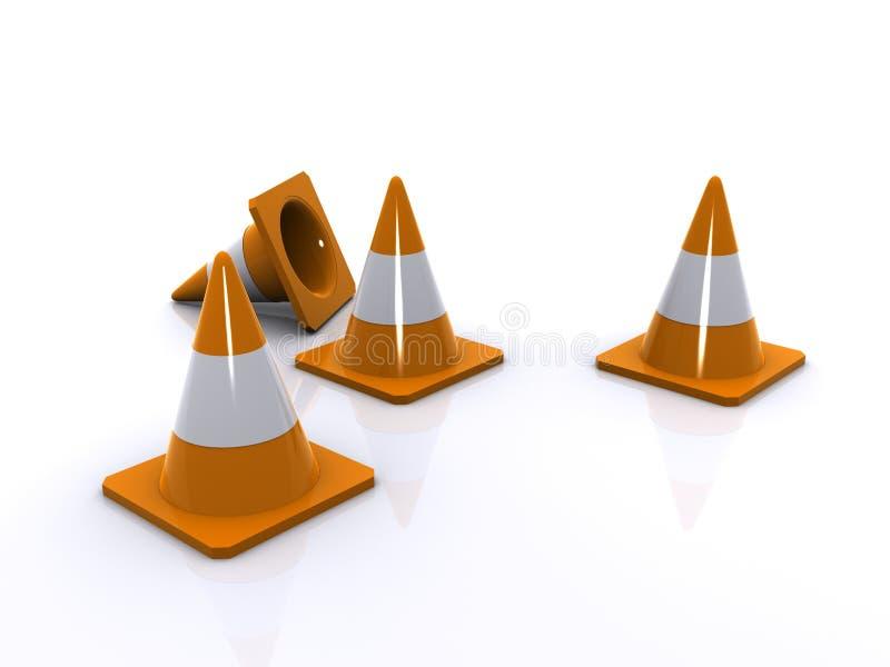 Conos anaranjados del tráfico ilustración del vector