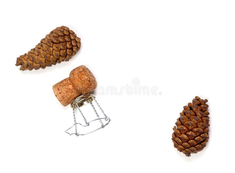 Conos de abeto y corcho del vino del champán con muselet foto de archivo libre de regalías
