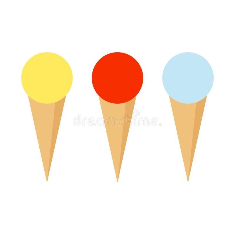 Conos de helado de la fresa, del chocolate, de la vainilla y del pistacho sobre el fondo blanco Helado tres con diversos sabores  libre illustration