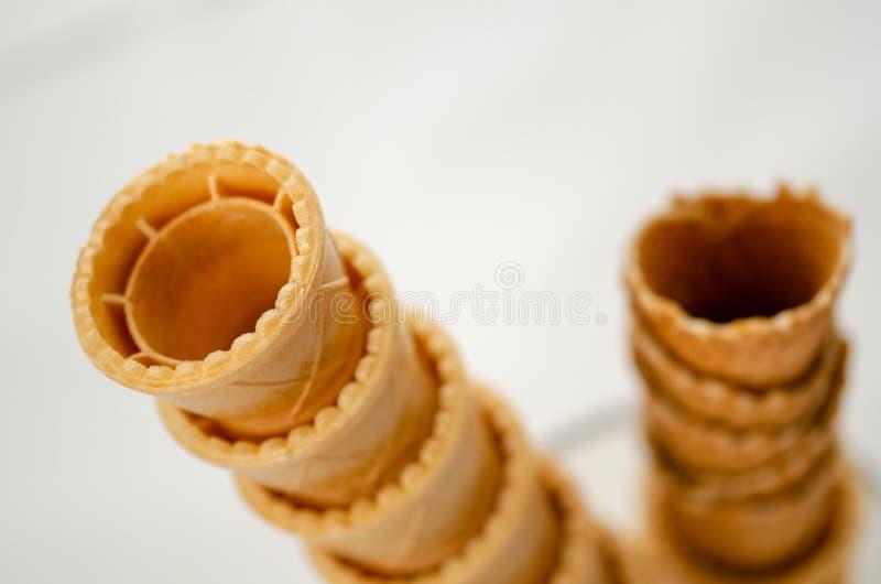 Conos de helado de la oblea imagen de archivo
