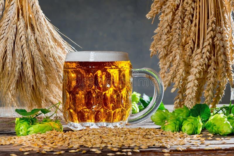 Conos de salto y materia prima para la producción de la cerveza imagenes de archivo