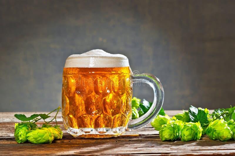 Conos de salto y materia prima para la producción de la cerveza fotografía de archivo libre de regalías
