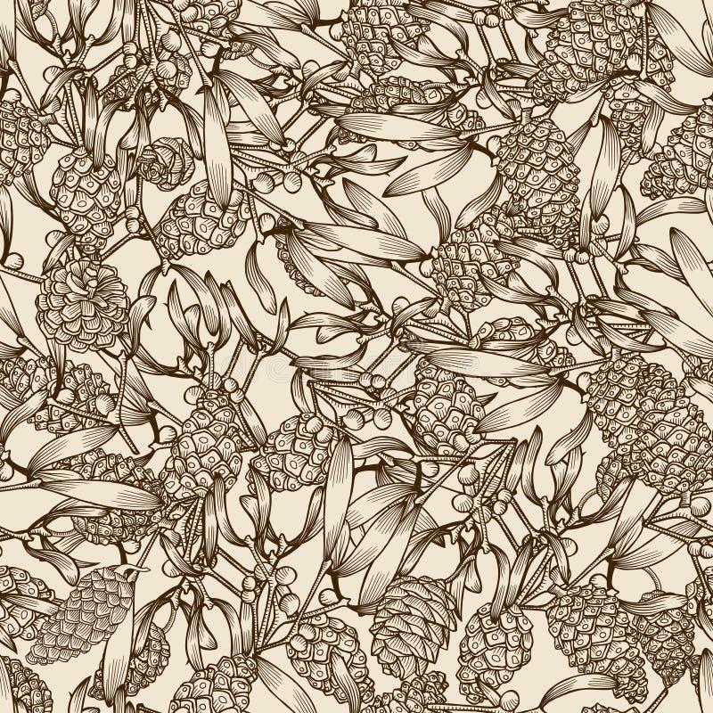 Conos del muérdago y del pino libre illustration