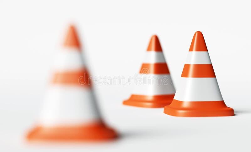 Conos del tráfico, representación del foco selectivo 3d stock de ilustración