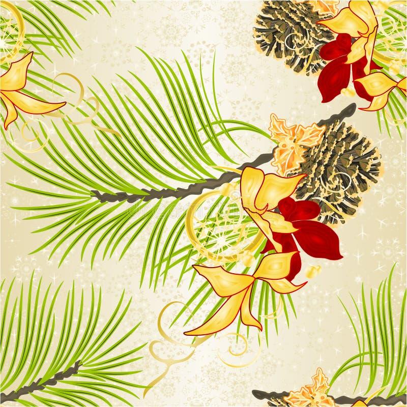 Conos festivos de la poinsetia y del pino del árbol de navidad decorativo de la Navidad inconsútil de la textura y del Año Nuevo  ilustración del vector