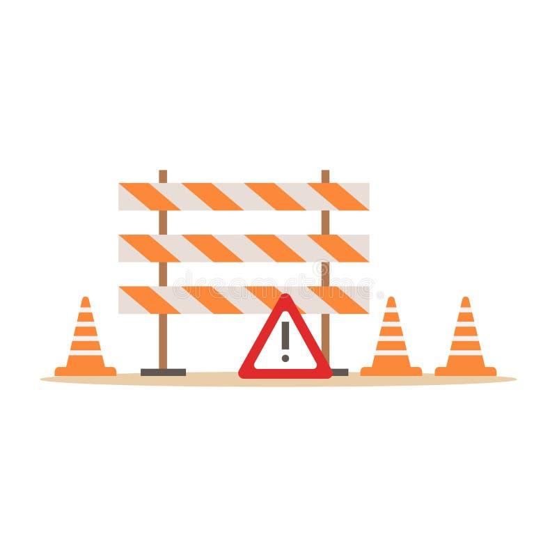 Conos y barreras del camino que señalan las herramientas, la parte de obras por carretera y series del emplazamiento de la obra d stock de ilustración