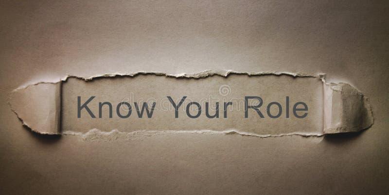 Conosca il vostro ruolo su carta lacerata fotografie stock