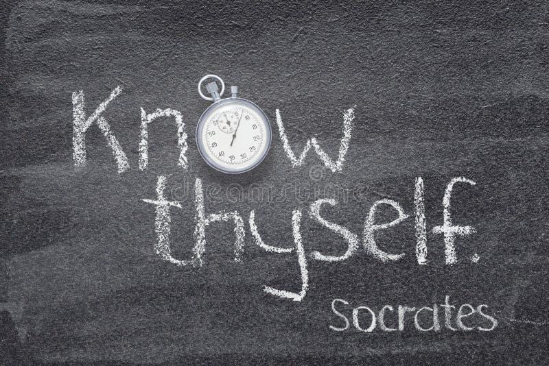 Conosca l'orologio di Socrates del thyself fotografia stock