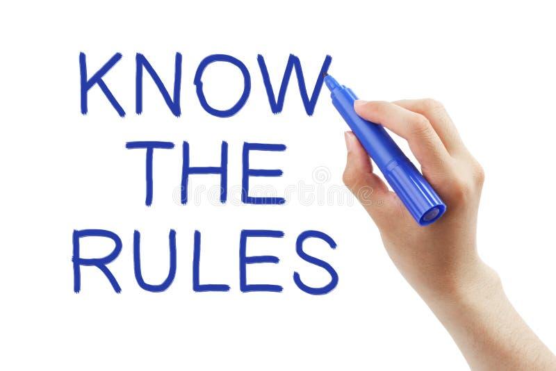 Conosca le regole fotografia stock libera da diritti