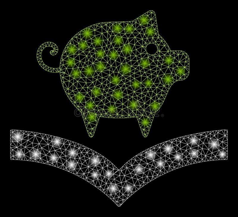 Conoscenza del maiale della maglia luminosa 2D con i punti del chiarore royalty illustrazione gratis