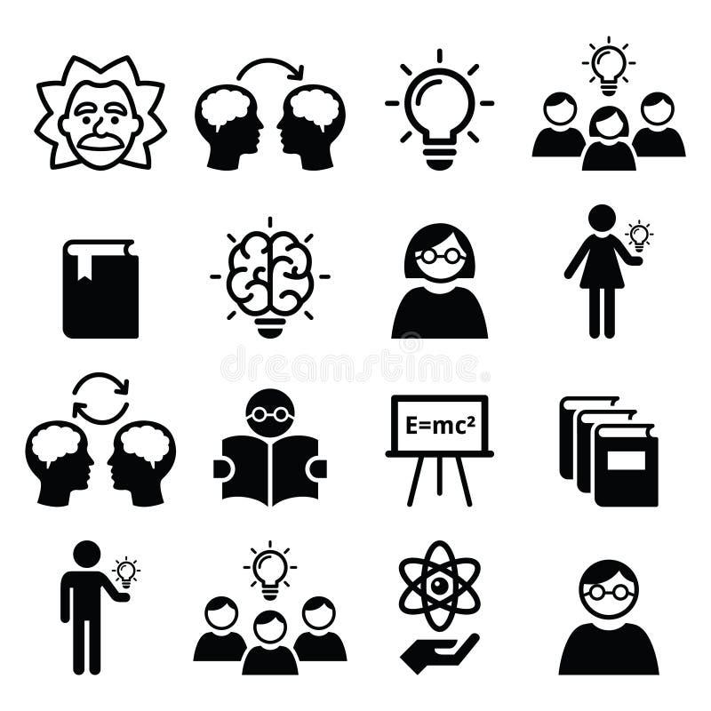 conoscenza  pensiero creativo  icone di idee messe illustrazione di stock