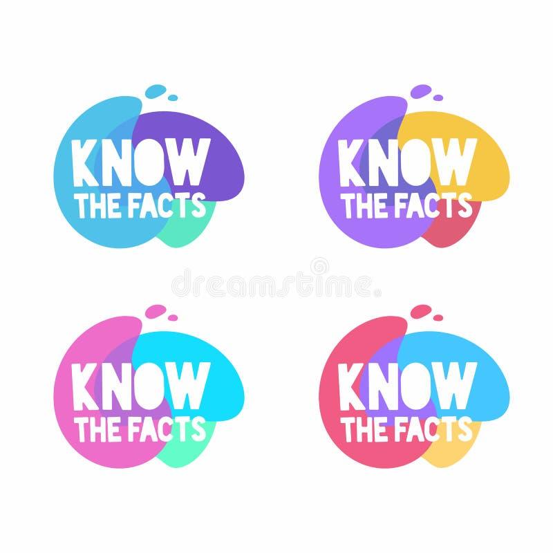 Conozca la burbuja del discurso de los hechos Sistema de insignias coloridas del vector Márketing, publicidad, banderas del negoc ilustración del vector
