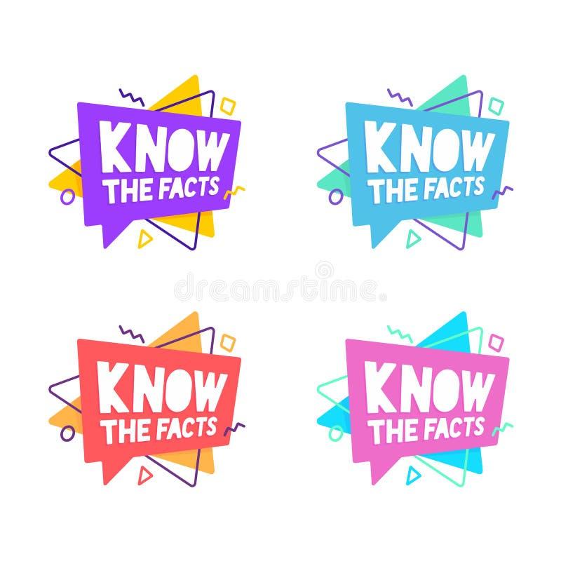 Conozca la burbuja del discurso de los hechos Sistema de insignias coloridas del vector Márketing, publicidad, banderas del negoc libre illustration