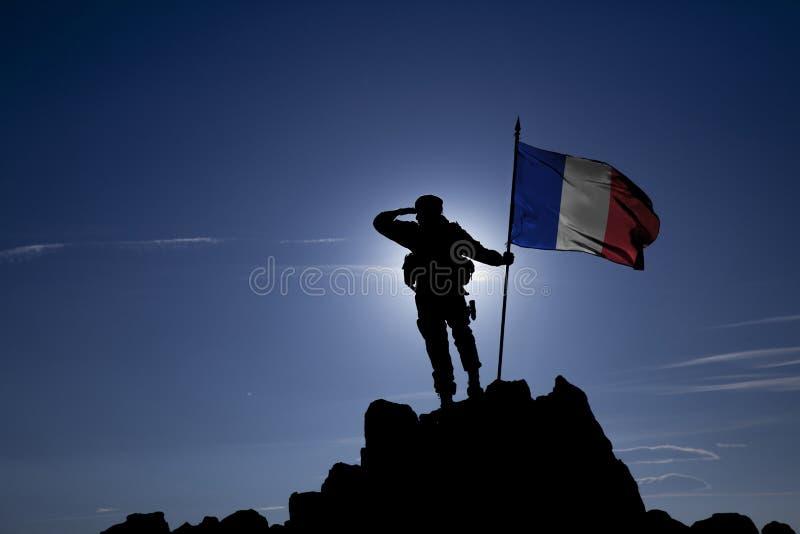 Conquérant avec un drapeau photos libres de droits