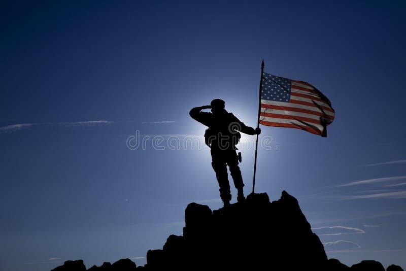 Conquérant avec un drapeau image libre de droits