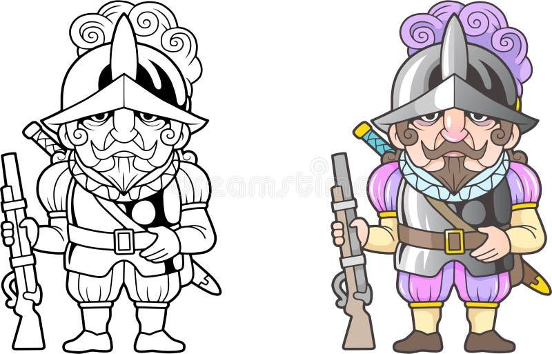 Conquérant espagnol de guerrier, illustration drôle, livre de coloriage illustration libre de droits