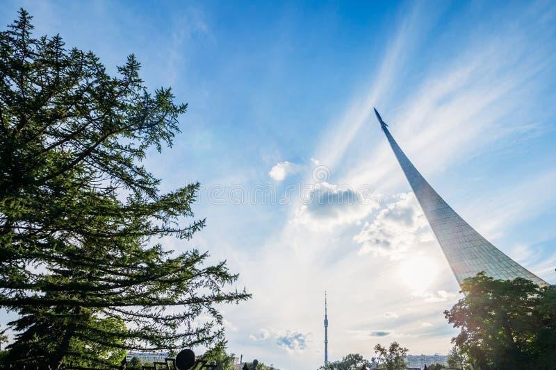 Conquérants de monument de l'espace à Moscou photo stock