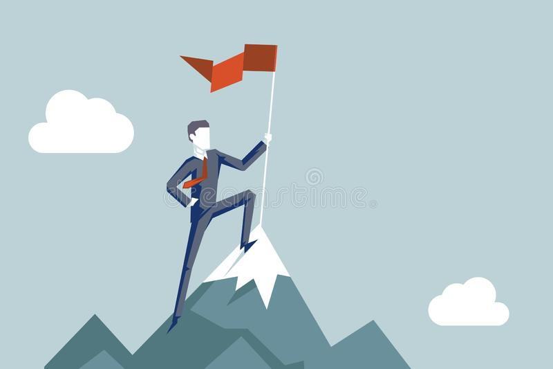 Conquête du concept aoal d'affaires de fond de montagne de point supérieur d'accomplissement de caractère de conquérant d'homme d illustration stock