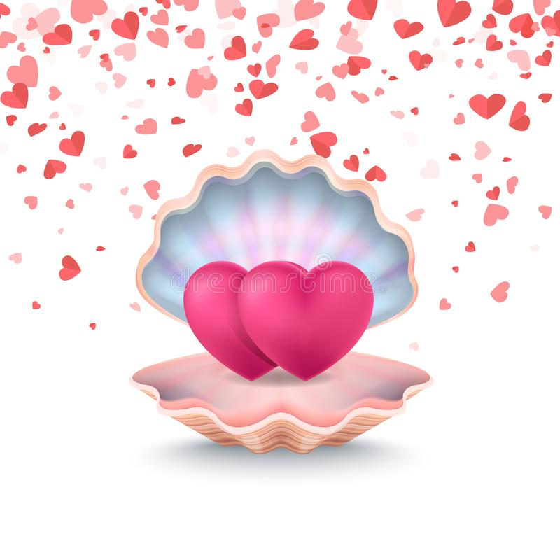 Conque avec des couples des coeurs, vecteur se sentant d'amour illustration stock