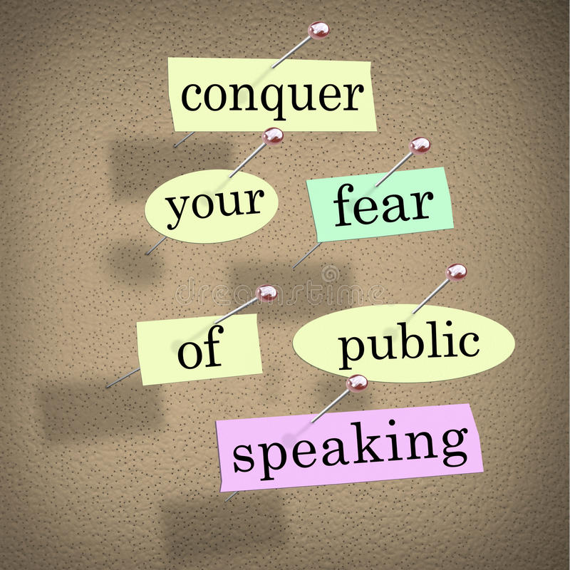 Conquer Your Fear of Public Speaking Bulletin Board Overcome Sta. Conquer your fear of public speaking words on papers pinned to a bulletin board, advice to royalty free illustration
