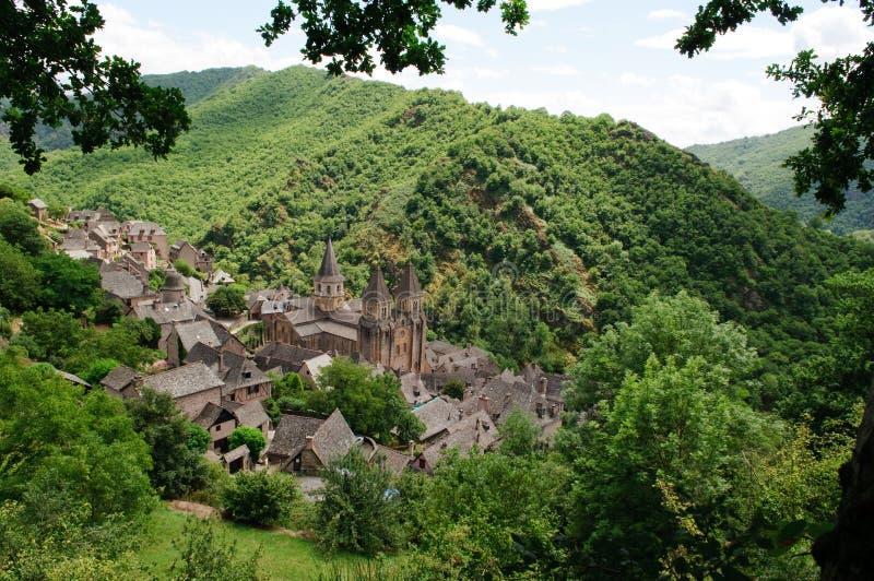 conques法语村庄 免版税图库摄影