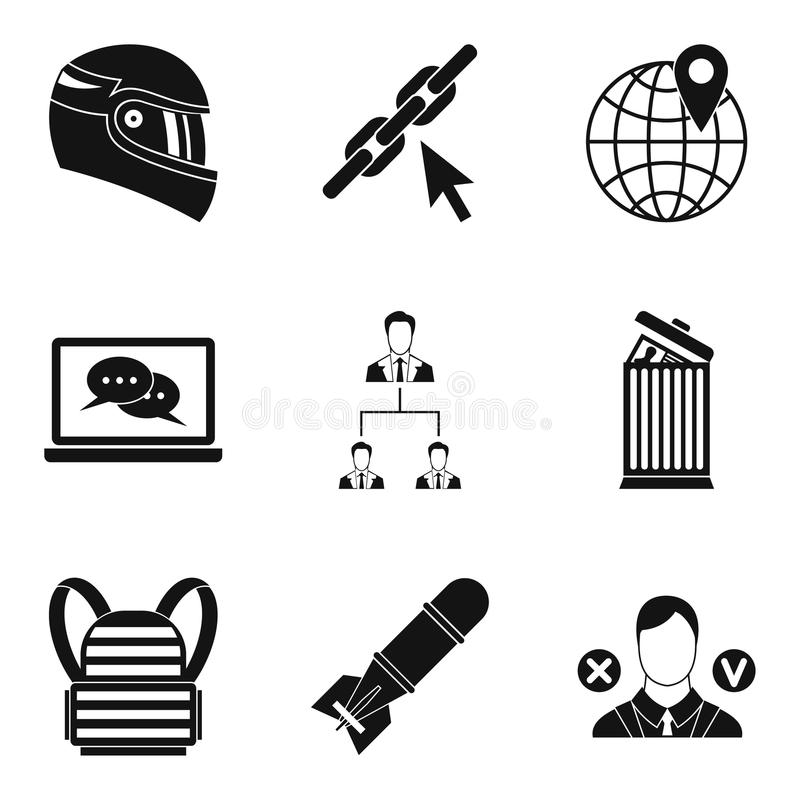 Conquest icons set, simple style stock illustration