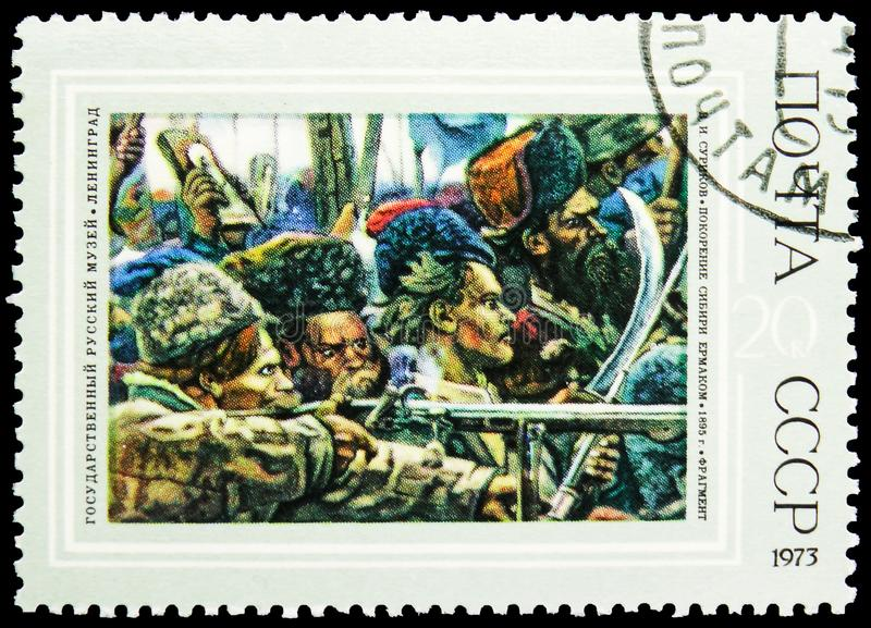 Conquest of Siberia by Yermak, 1895, V.I. Surikov 1848-1916, Russian Paintings serie, circa 1973. MOSCOW, RUSSIA - MAY 25, 2019: Postage stamp printed in Soviet stock photos