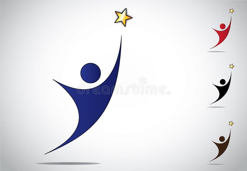 Conquista variopinta della persona o icona di simbolo di successo di risultato illustrazione di stock
