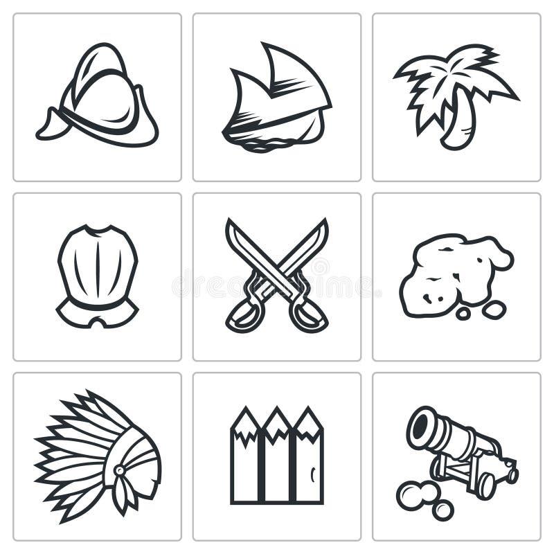 Conquistador, indier och guldsymbolsuppsättning också vektor för coreldrawillustration royaltyfri illustrationer