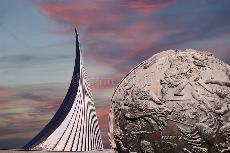 Conquistadores del monumento del espacio, Moscú, Rusia foto de archivo