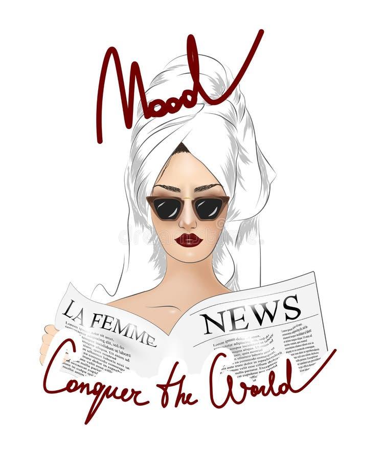 Conquiste el lema del mundo con la muchacha en el ejemplo de las gafas de sol stock de ilustración