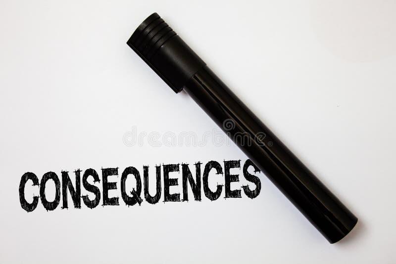 Conséquences des textes d'écriture de Word Le concept d'affaires pour des résultats de résultat a produit le message d'idées de c photo stock