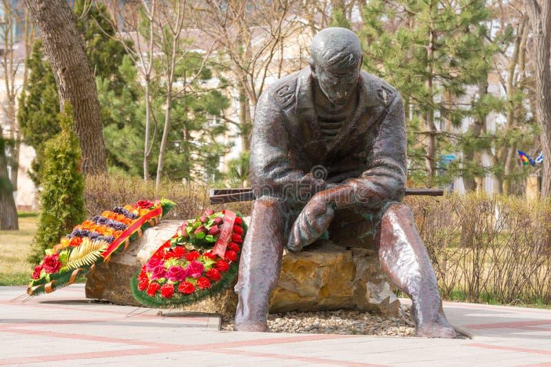 Consacré commémoratif aux guerres des Afghans, dans le parc de mémoire et l'allée de la gloire dans Anapa, Russ images libres de droits