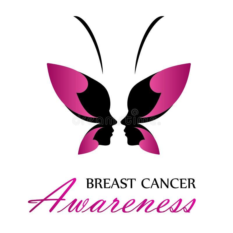 Consapevolezza del cancro al seno con il manifesto rosa della farfalla con il nastro illustrazione vettoriale