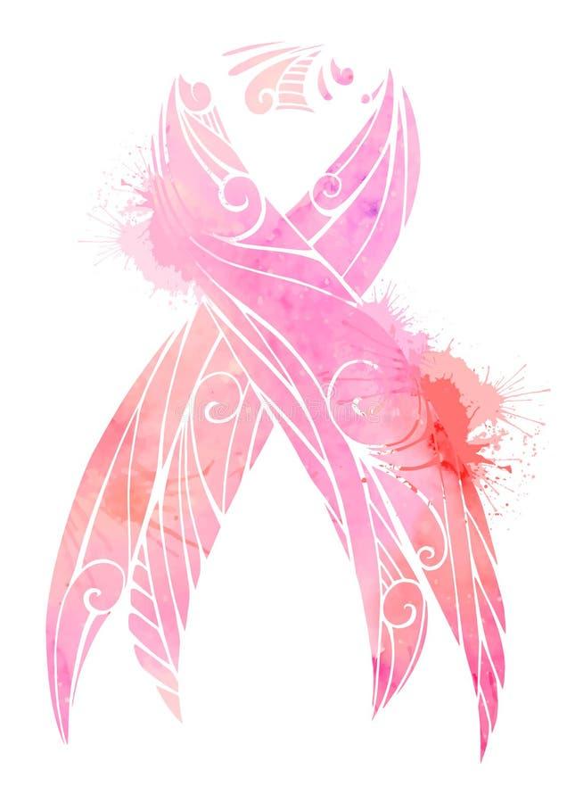 Consapevolezza del cancro al seno Il nastro rosa dell'acquerello con spruzza royalty illustrazione gratis