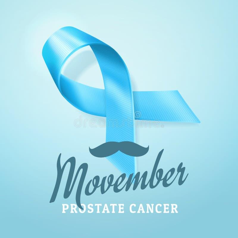 Consapevolezza del carcinoma della prostata, fondo del nastro blu Simbolo di consapevolezza del carcinoma della prostata isolato  illustrazione di stock