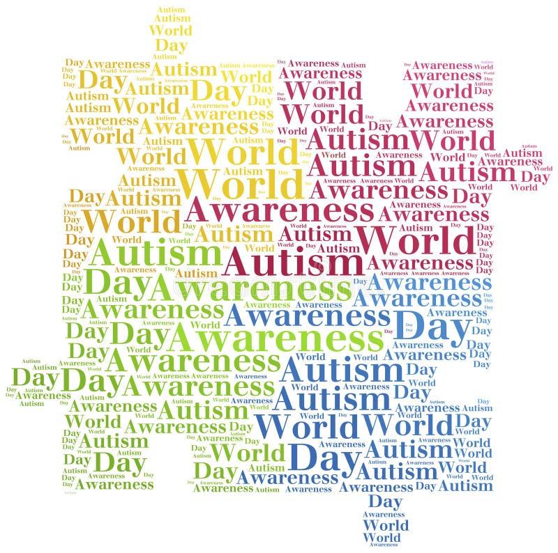 Consapevolezza di autismo della nuvola di parola riguardante illustrazione di stock