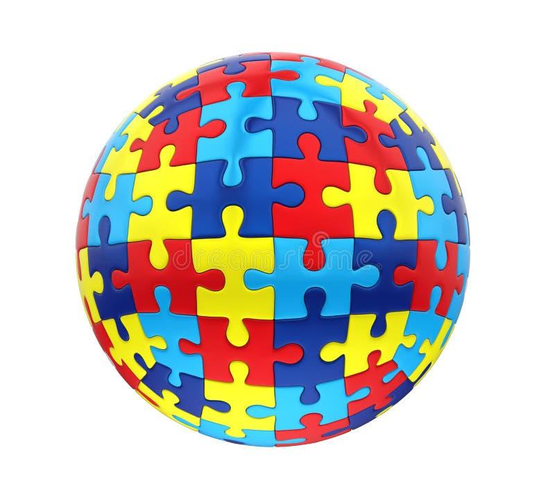 Consapevolezza sferica di autismo di puzzle isolata illustrazione vettoriale