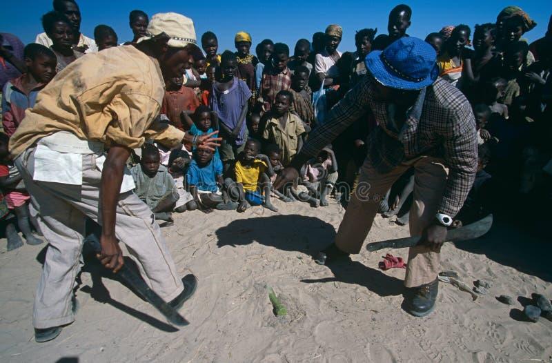 Consciência da mina antipessoal em um acampamento em Angola. imagem de stock royalty free