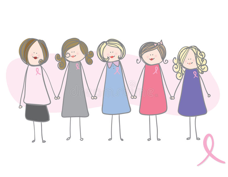 Consciência do cancro da mama - mulheres que prendem as mãos ilustração royalty free