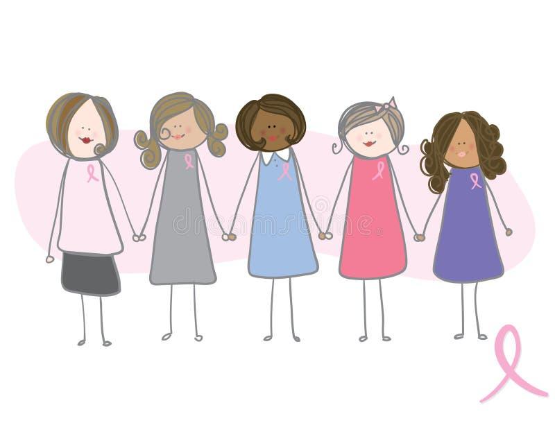 Conscience de cancer du sein - femmes retenant des mains illustration libre de droits