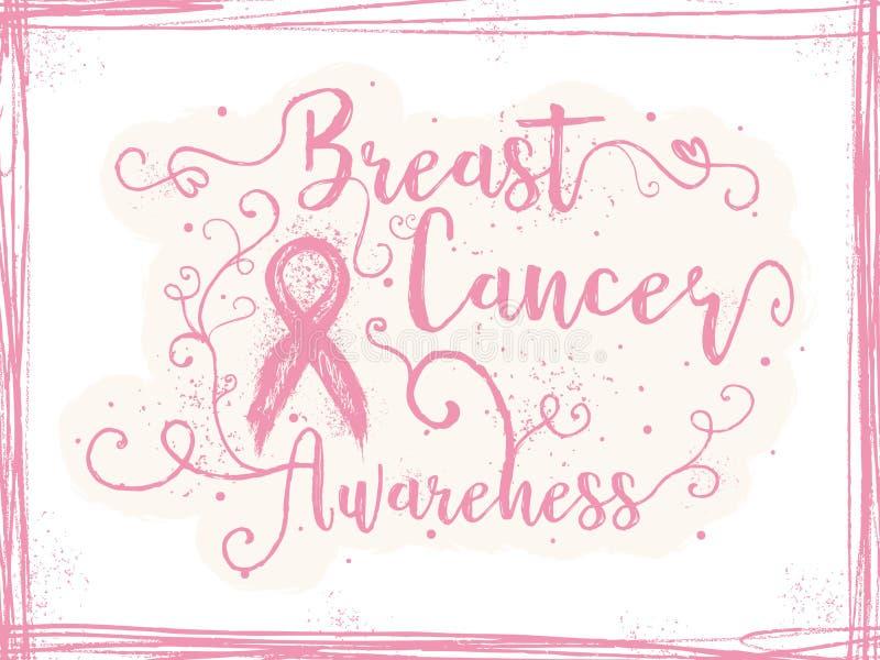 Conscience de cancer du sein, signe inspiré illustration de vecteur