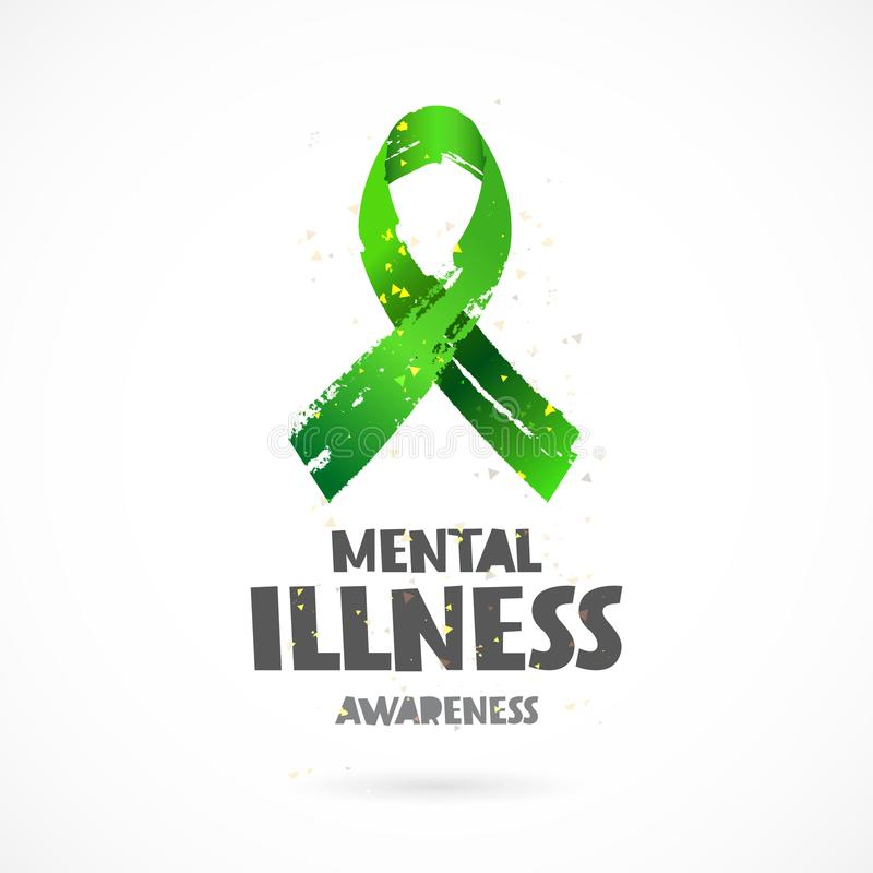 Conscience de maladie mentale Bande verte illustration stock